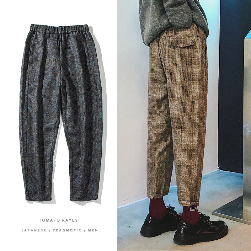 2019 Autumn And Winter New Men's Woolen Plaid Small Trousers Fashion Casual Thickened Harem Pants Youth Brown / Black M-2XL