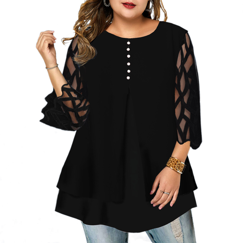 L-6XL Plus Size Shirts Women 3/4 Sleeve Buttons Tees Spring 2020 Female Loose Mesh Stitching Tops Ladies New O Neck Shirt D30
