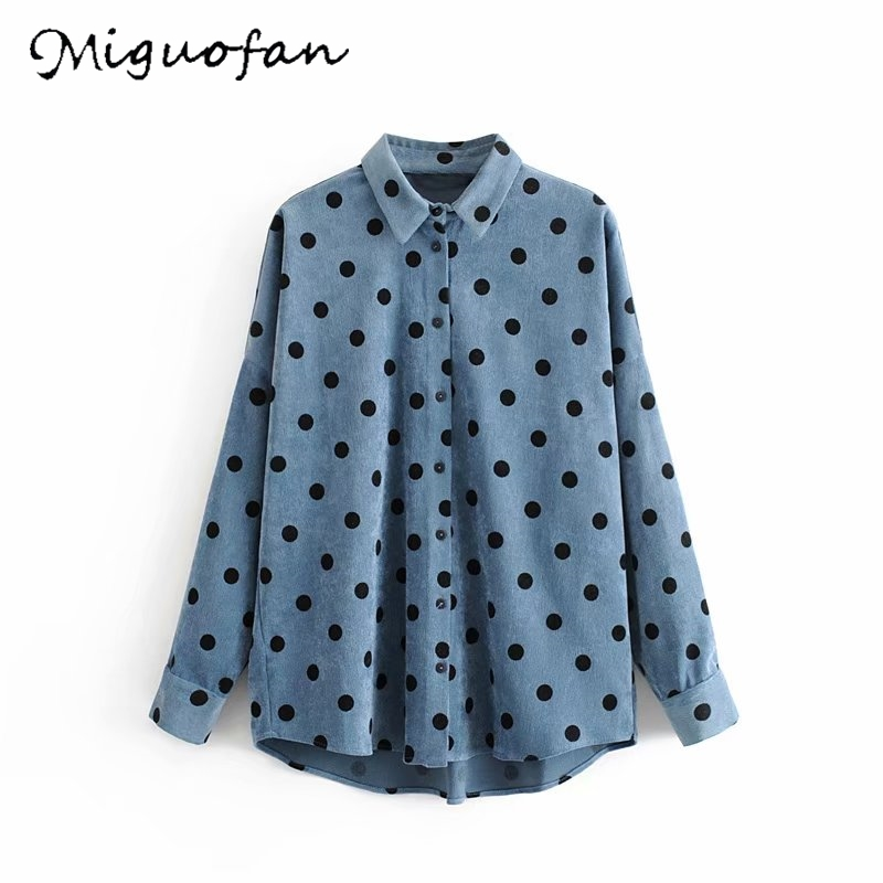 Miguofan women <font><b>polka</b></font> <font><b>dots</b></font> blouse <font><b>shirts</b></font> Corduroy Oversized <font><b>blue</b></font> blouse button long sleeve <font><b>shirt</b></font> female casual loose tops blusas image
