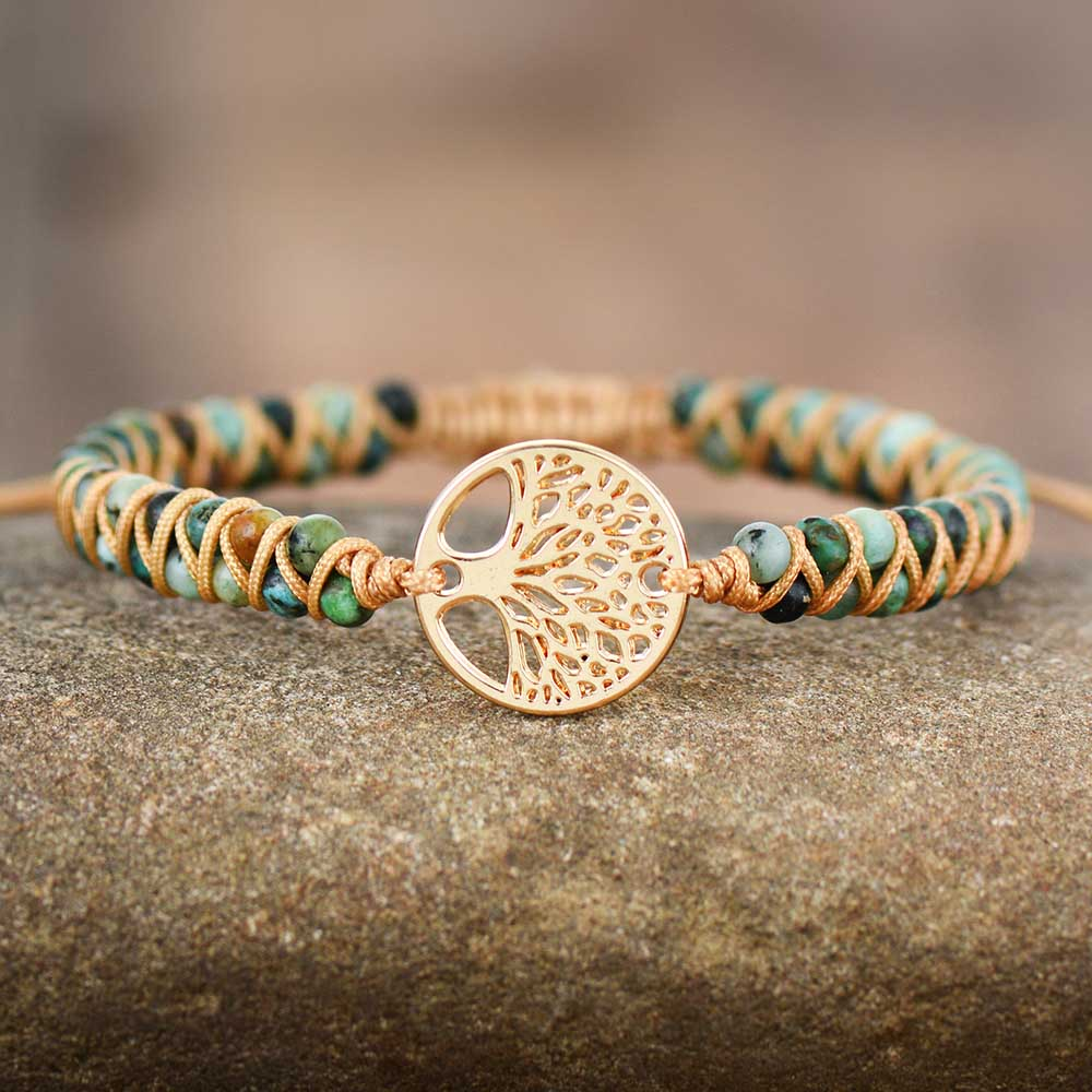 Tree Charm Bracelets African Japser String Braided Bracelets Yoga Friendship Lover Bracelet(China)
