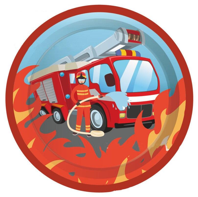 С изображением пожарной машины 130*220 см одноразовые Пластик скатерть день рождения детей, мальчика вечерние детского дня рождения с рисунком пожарного покрытие стола вечерние Supplie-1