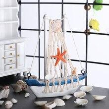 1 ud. Náutico marino de madera azul velero barco adornos manualidades de madera Vintage estilo mediterráneo fiesta decoración de la habitación del hogar