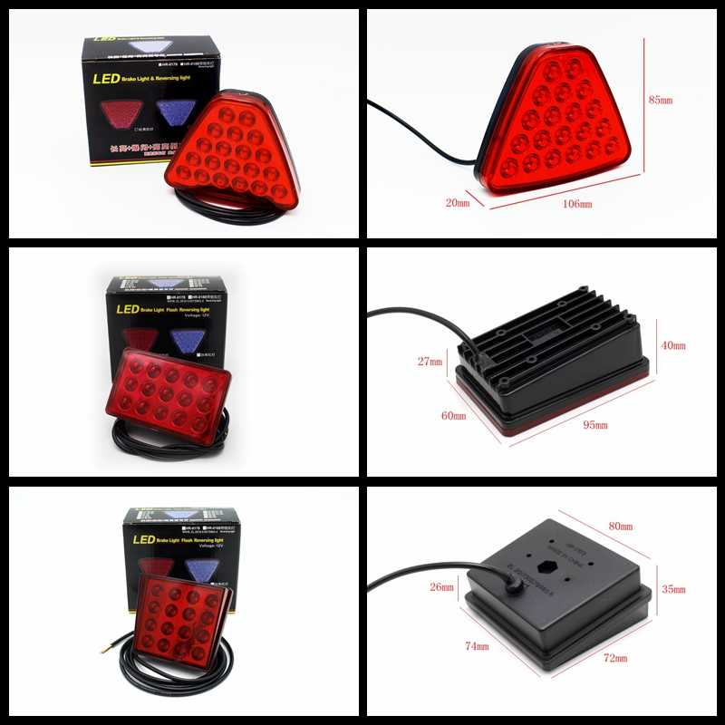 Yituancar 1 Chiếc Đèn LED 20 Bóng Ô Tô Xe Tải Kéo Đuôi Đèn LED Phanh Dừng Tín Hiệu Đảo Chiều Đèn Cảnh Báo Triangl Nhấp Nháy Tạo Kiểu nguồn