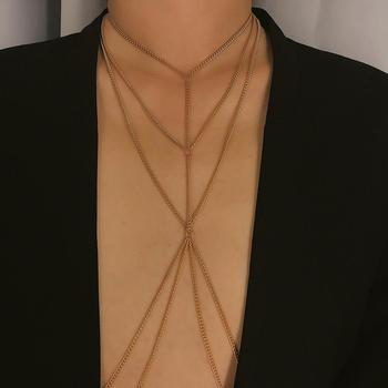 Simple Style Chain Necklace Belly Body Chain Fashion Sexy Copper Sequins Body Chain Jewelry for Women Beach Party 2