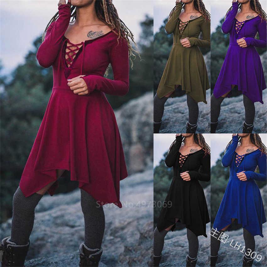 2020 חדשות ימי ביניים נשים ויקטוריאני שמלת תחבושת תחרה עד ימי הביניים תחפושת פיראט ויקינג קוספליי למבוגרים ליל כל הקדושים קרנבל המפלגה