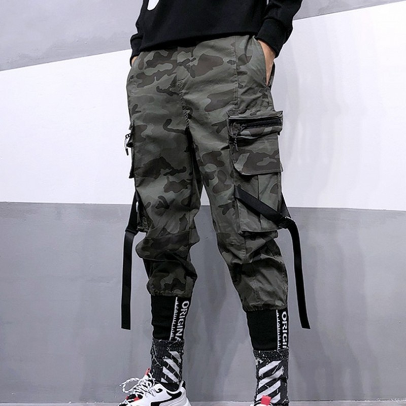 2020 New Trend Street Wear Military Camo Pants Mens Loose Camouflage Harem Pants Men Letter Multi-Pocket Hip Hop Trousers S-XXL