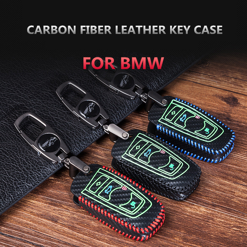 Leather 3D Key Chain Fob Ring Keychain For  BMW X1 X3 X5 X6 E60 E90 E92 Metal