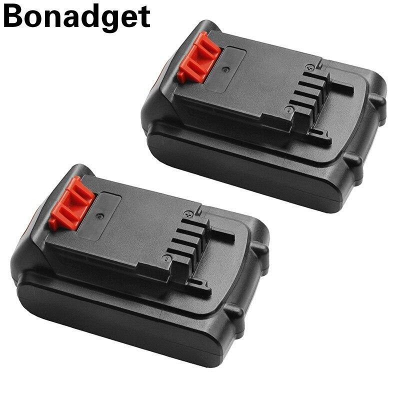 Bonadget 2Pcs 18V/20V 2000mAh Li-ion Rechargeable Battery Power Tool Replacement Battery For BLACK & DECKER LB20 LBX20 LBXR20