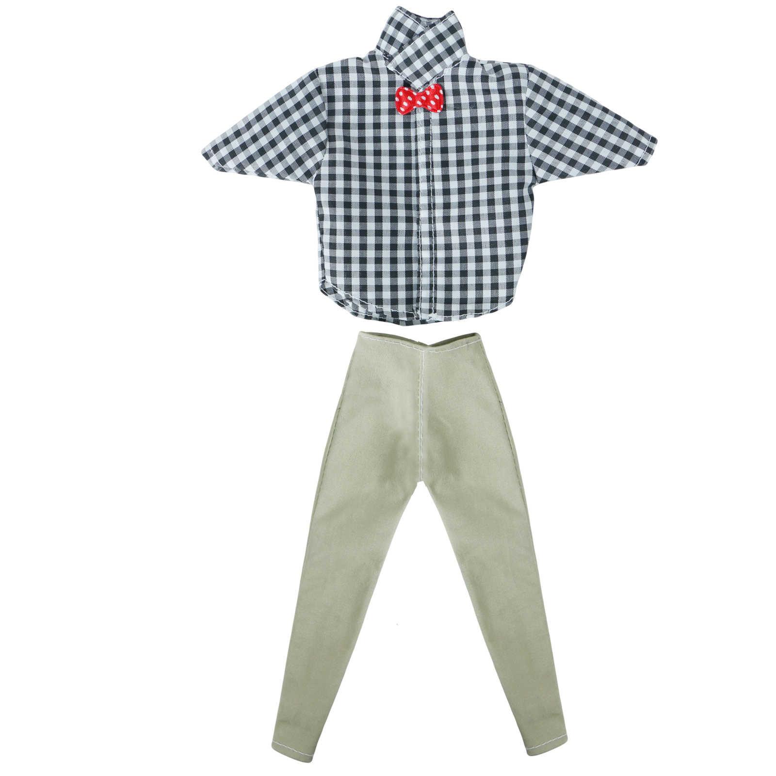 1 Conjunto de trajes de hombre de moda Bowknot Plaid pantalones de camisa de manga corta ropa Casual accesorios para Barbie Doll Ken juguete