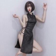 Black White Qi Pao Bandage Split Chongsam for Women Qipao Winter