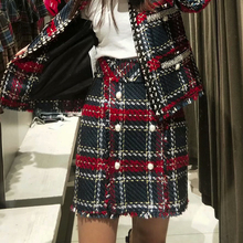 Fageous Sexy High Waist Plaid Button Women Skirts Blend Feminino Mini Skirts Casual Short Winter