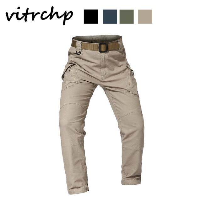 VITRCHP 2021 Mens Jogging Track Pant Multiple Pocket Elasticity Military Urban Commuter Tacitcal Trousers Slim Fat Cargo 3