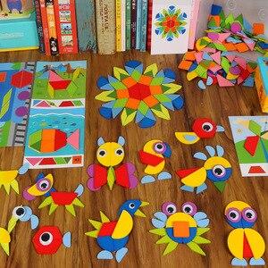 Image 2 - Juguetes tangram пазл 3d Животные головоломки Детские деревянные игрушки для детей игры Творческие Пазлы Обучающие Игрушки для раннего развития
