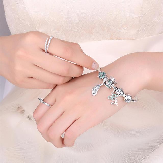 Bracelet charm trèfle vert