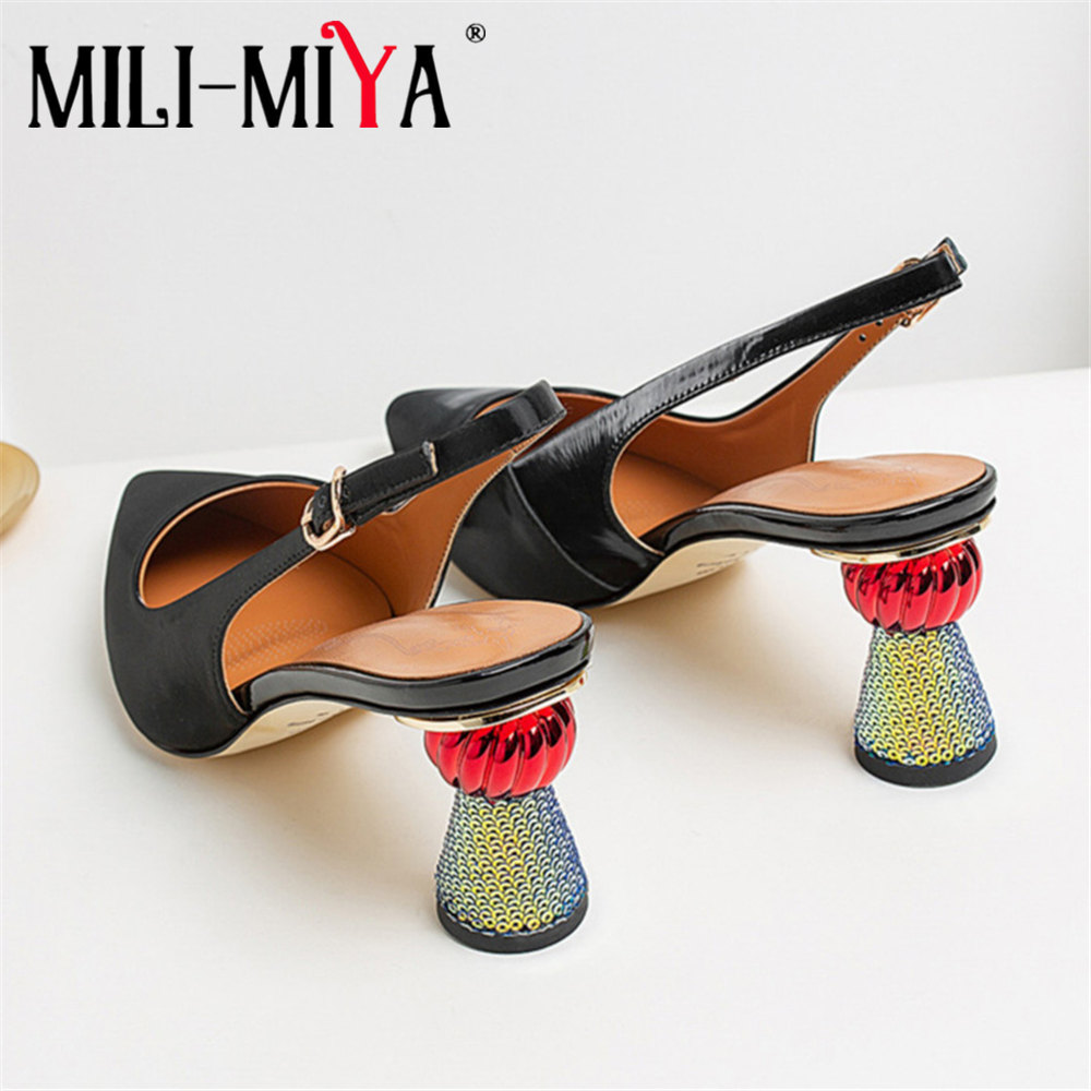 MILI-MIYA Genuine Leather Pumps Spring Green Pointed Toe Handmade Strange Style Heels Woman High Quality Party Lady Shoes