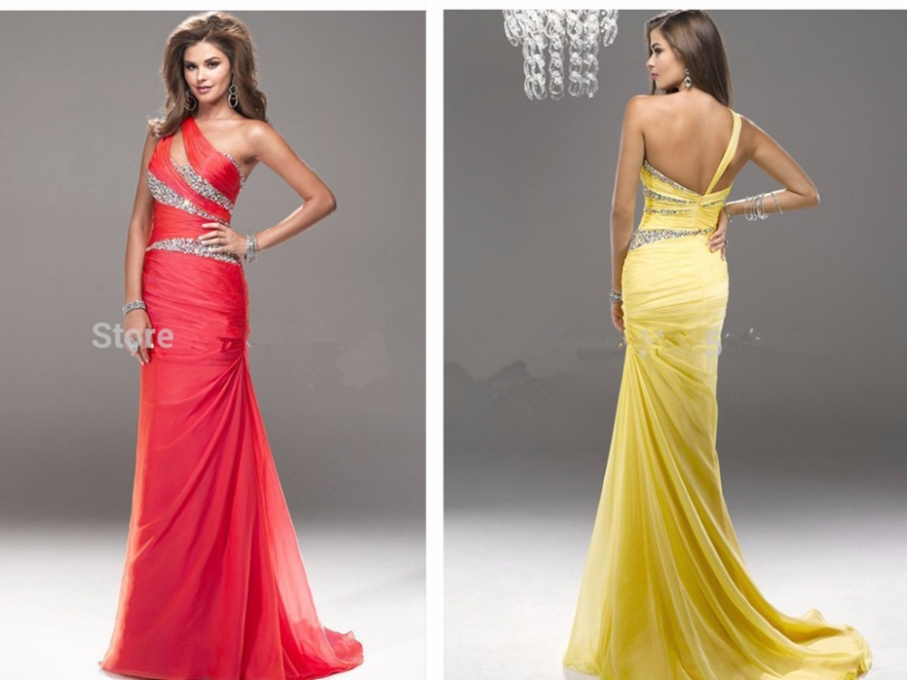 Chiffon Mermaid Long Prom Dresses 2015 New Hot Sexy One Shoulder Beading Evening Gowns Vestidos Para Festa Summer Style Party