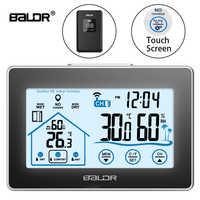 Baldr Station météo sans fil écran tactile thermomètre hygromètre intérieur extérieur capteur de prévision calendrier 3 CH
