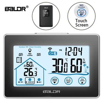 Baldr bezprzewodowa stacja pogodowa z ekranem dotykowym termometr higrometr kryty odkryty prognoza czujnik kalendarz 3 CH tanie i dobre opinie B0317 49 ° C i Pod Czujnik temperatury DIGITAL Gospodarstwa domowego Aaa baterii Stojąc i Wall Hanging 4 0-6 9 Cali Touch Screen for buttons