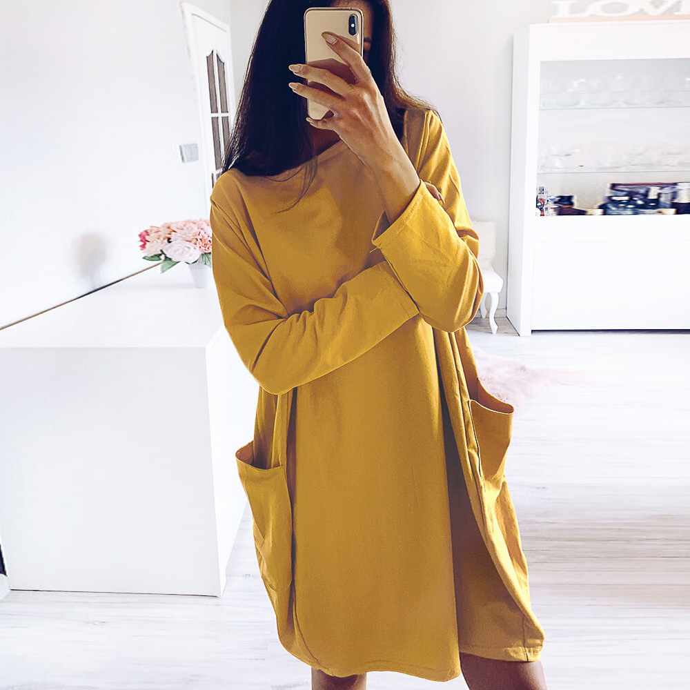 Women Long Sleeve Pockets Tunic Top Ladies Loose Pullover Blouse Dress Women Slim Pack Hip Bodycon Shirts Casual Pullover Tops