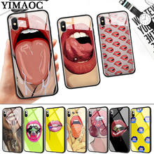 Girl red Lips Kiss Glass Phone Case for Apple iPhone 11 Pro XR X XS Max 6 6S 7 8 Plus 5 5S SE webbedepp hot red dead redemption 2 glass phone case for apple iphone xr x xs max 6 6s 7 8 plus 5 5s se