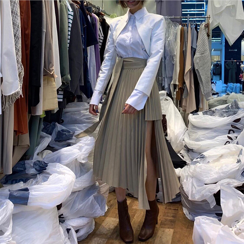 Spring 2020 Irregular Sashes Mid Calf Women Pleated Skirt Khaki Pleated Skirt Vintage High Waist Casual Skirts Female Faldas New