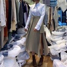 Jupe plissée mi-mollet pour femmes, ceinture irrégulière, kaki, Vintage, nouvelle collection printemps 2020