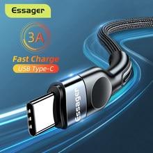 Essager usb tipo c cabo para samsung xiaomi mi 3a carregamento rápido USB-C cabo carregador do telefone móvel usbc tipo-c cabo de fio de dados 3m