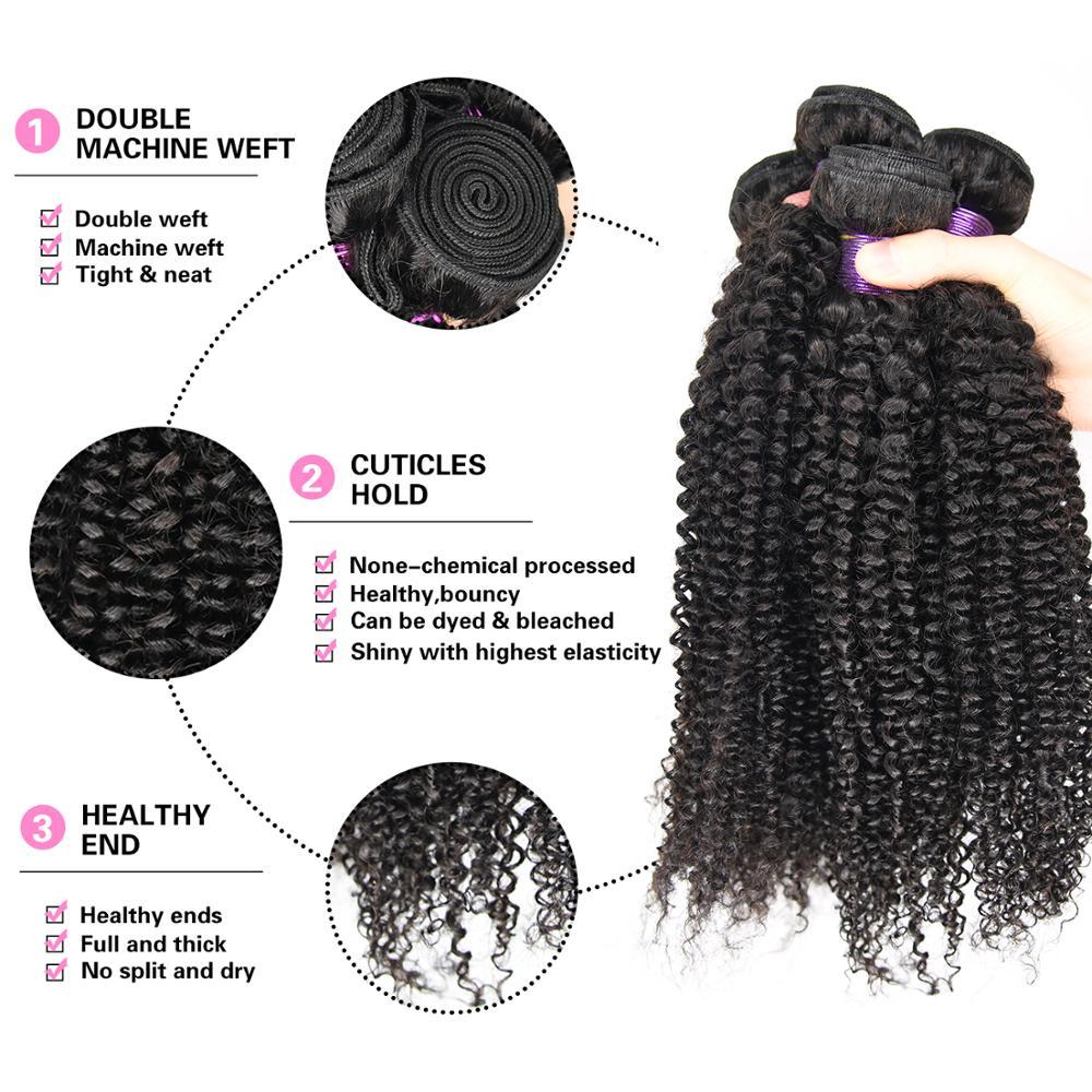 "Paruks Brazilian Kinky Curly Human Hair Weave Bundles 1/3/4 Pcs 100% Human Virgin Hair Natural Color 8-40"" Hair Extensions"
