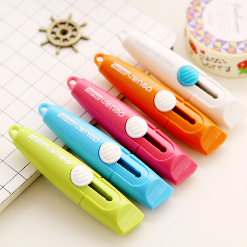 Mini Cute Small Deli Candy Color Paper Wallpaper Photo Letter Box Cutter Art Utility Knife Office Supplies Tools