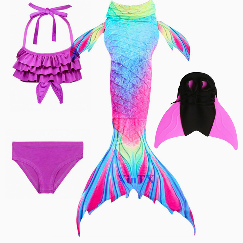 New Mermaid Tail With Monofin Fin Children Bikini The Little Mermaid Tail swimsuit with fin Flipper Cosplay Costume for Kids