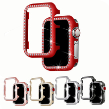 цены Diamond case cover For Apple watch 5 4 44mm 40mm iwatch Series 1/2/3 42mm 38mm Crystal protective shell watch Accessories