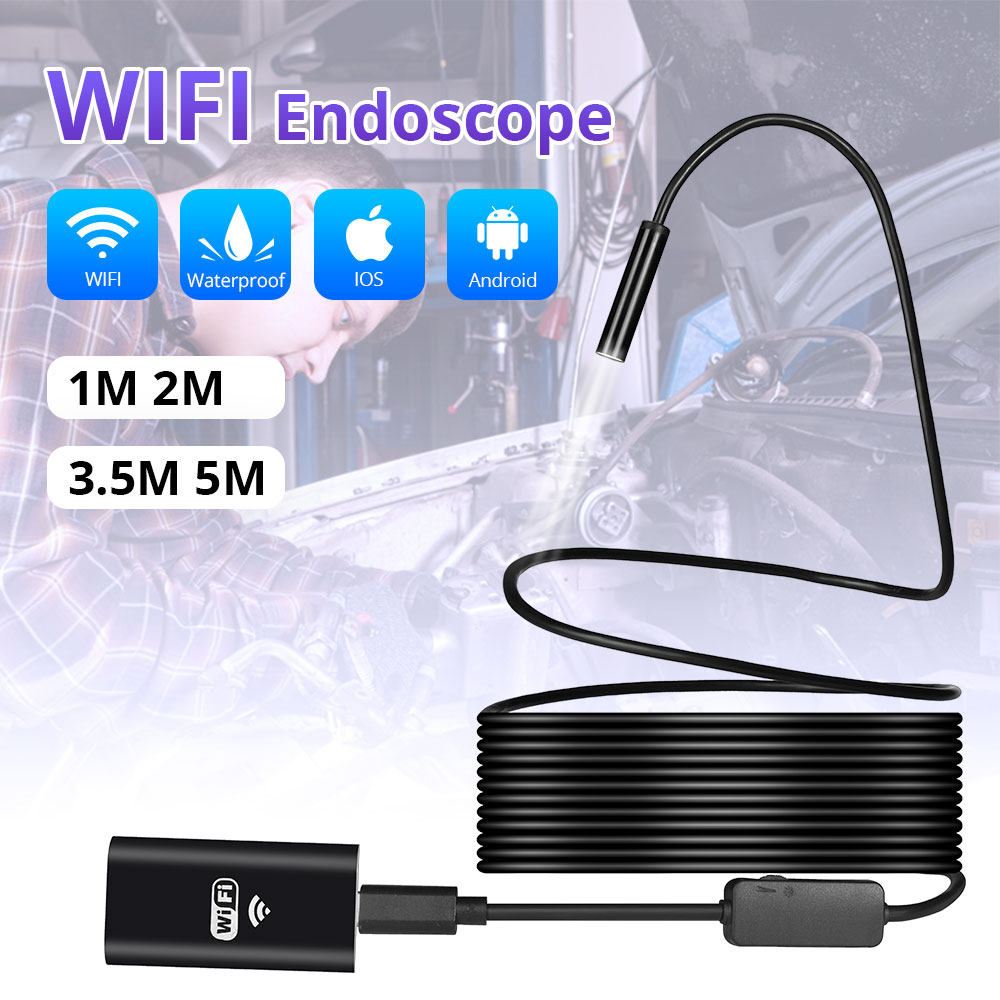 KERUI 1m 2m 5m Wi-fi Sem Fio 1200P HD 8mm USB Endoscópio Endoscópio Câmera Wi-fi Ao Ar Livre câmera de Inspeção Borescope Android iPhone