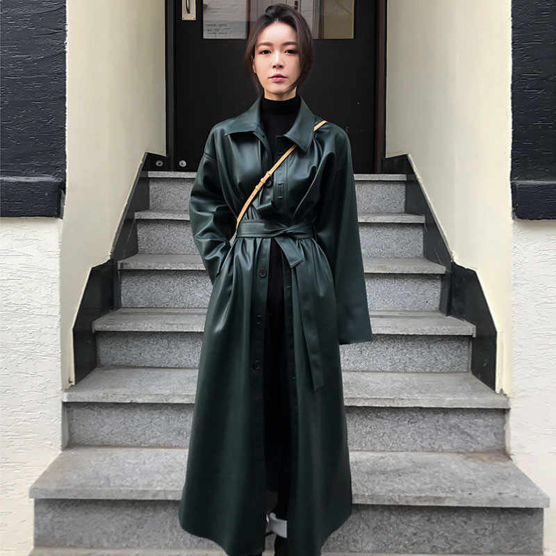 2019 Autumn Black Long Leather Jacket Women Fashion Coat Female Windbreaker Single-breasted Casual Outerwear Black Large size