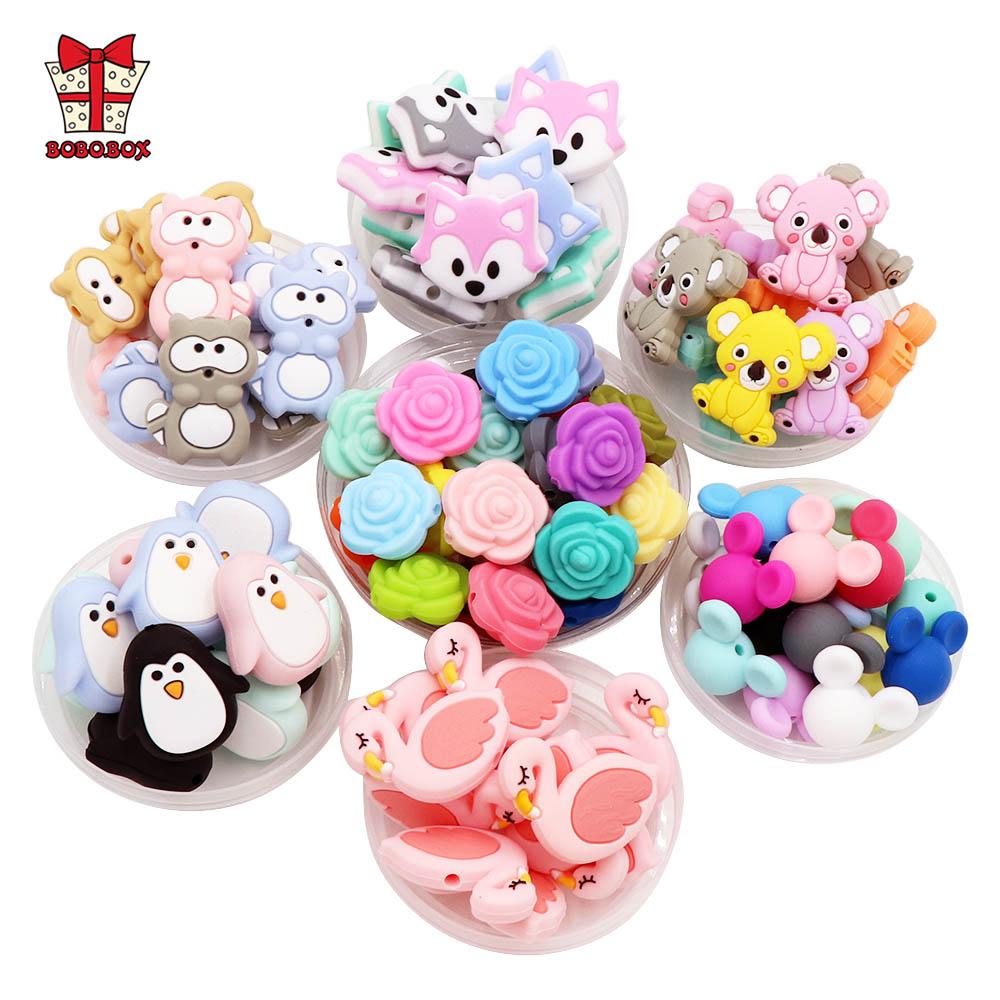 BOBO.BOX 10pcs Silicone Beads Animal Koala Raccoon Food Grade Baby Silicone Teething Toy BPA Free DIY Pacifier Chain Accessories