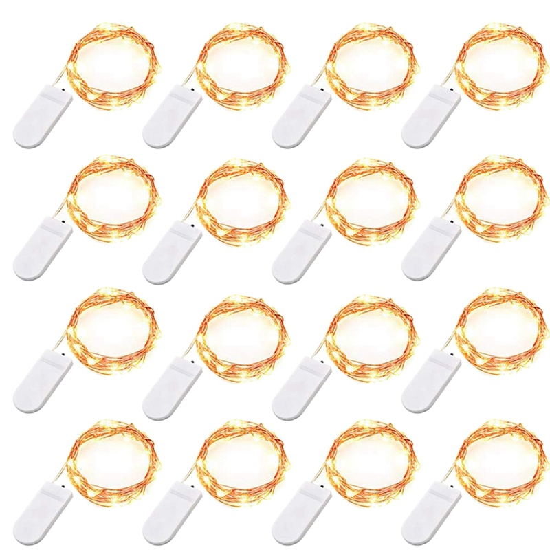 16 Pack LED Fairy Lights 20 LED Warm White Fairy String Lights 2M Waterproof Copper Wire LED Party Lights for Wedding Jars Craft