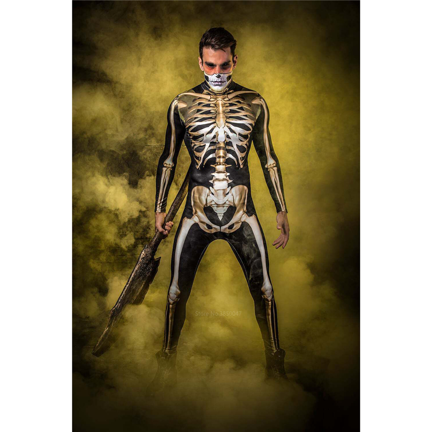 Gold Skeleton Halloween Cosplay Jumpsuit Women Kids Scary Costume Boy Girl Fancy Day Of The Dead Family Carnival Party Devil