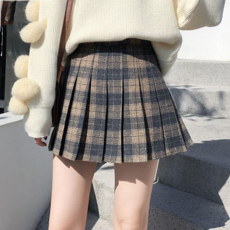 Женская плиссированная юбка трапециевидной формы в стиле ампир, Женская клетчатая мини юбка в стиле Харадзюку, Осень-зима, женские