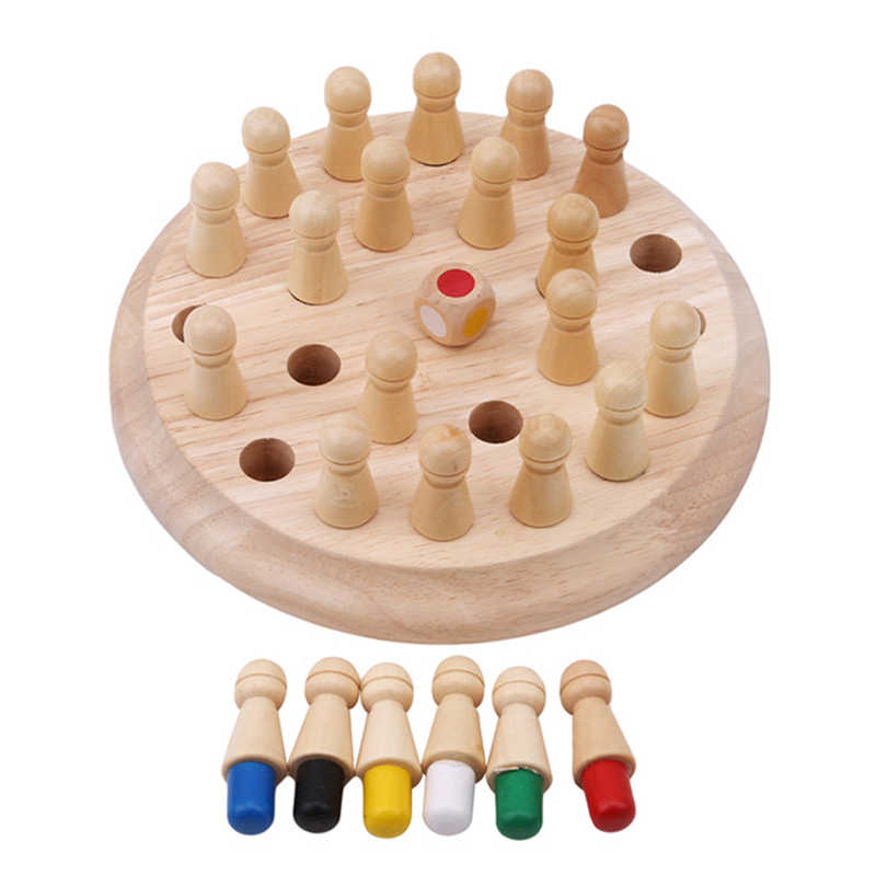 Montessori สำหรับเด็กสีไม้ Memory Match หมากรุกเกมของเล่นเด็ก 3D ปริศนาการศึกษาของขวัญครอบครัวเกม