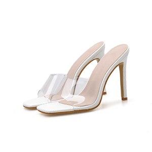 Image 4 - Pzilae Size 41 42 PVC woman shoes slip on fashion sandals square toe slides ladies high heel slippers pumps shoes party pumps