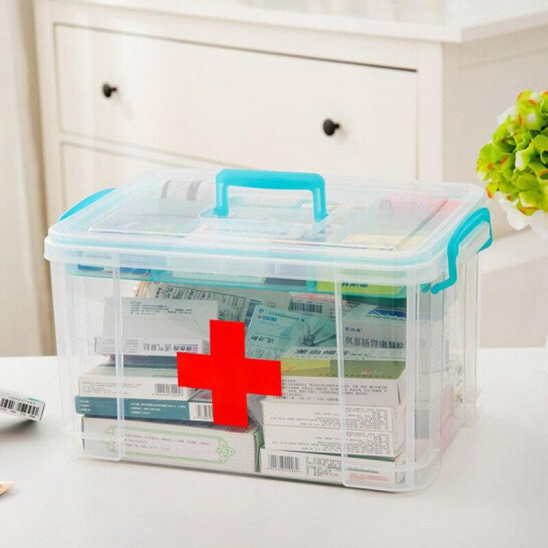 Multi-use Storage Box Plastic First Aid Box Medical Kit Medicine Box Pill Organizer Portable Household Organizor
