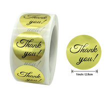 500pcs/roll 25cm gold thank you stickers for envelope sealing