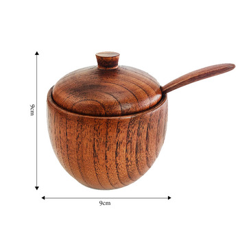 Hot Wooden spice jar salt and pepper Seasoning Jar Natural Spice Tank with Lid and Spoon Seasoning Container Kitchen Tools цена 2017
