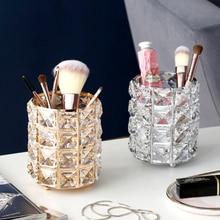 Европейский металлический держатель для хранения кистей для макияжа, тестовая трубка, карандаш для бровей, органайзер из бисера, Хрустальная банка, ювелирная Бриллиантовая косметическая коробка, lw037