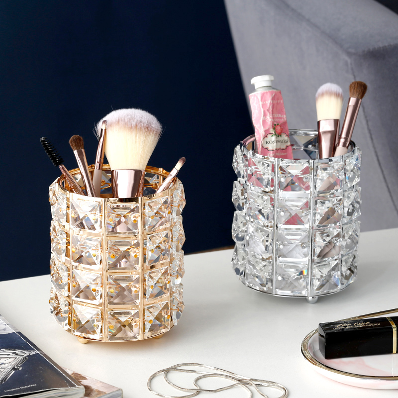 Europe Metal Makeup Brush Storage Holder Test Tube Eyebrow Pencil Organizer Bead Crystal  Jar Jewelry Diamond Cosmetic Box Lw037
