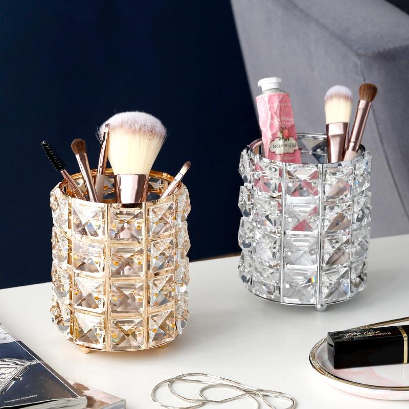 Europe Metal Makeup Brush Storage Holder Test Tube Eyebrow Pencil Organizer Bead Crystal  Jar Jewelry Diamond Cosmetic Box Lw037