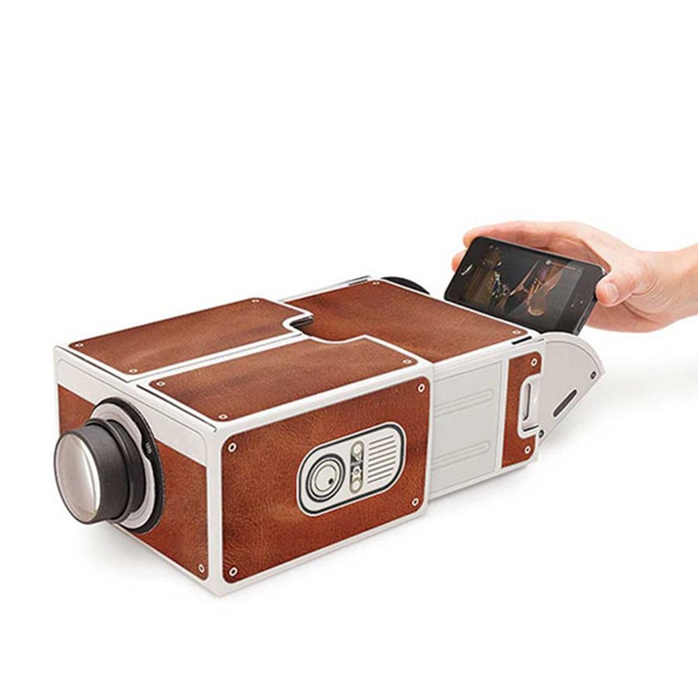 Mini akıllı telefon projektörü sinema taşınabilir ev kullanımı DIY karton projektör aile eğlence projeksiyon cihazı