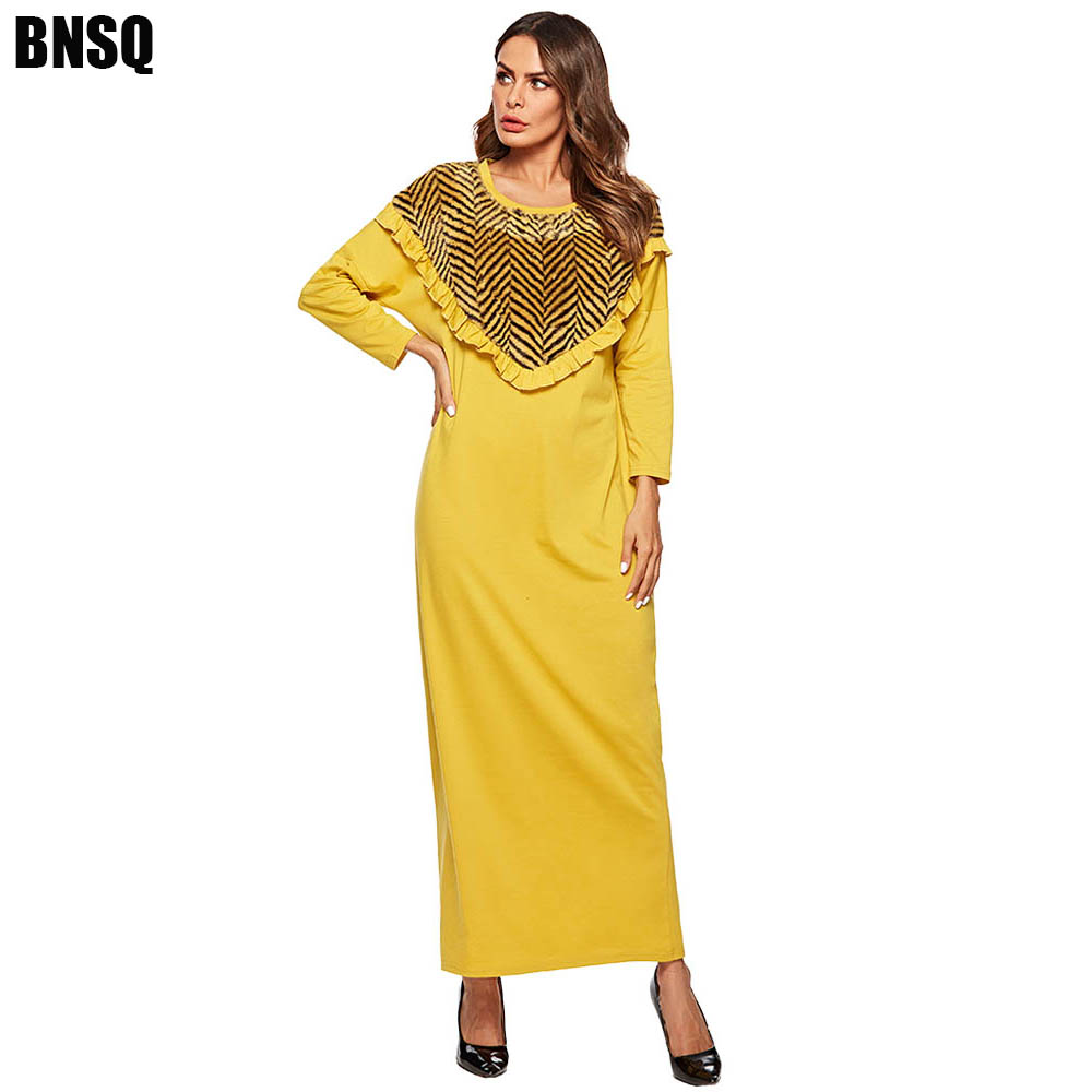 BNSQ Middle Eastern Abaya Dress Yellow Knit Stitching Fake Plush Long Sleeve Maxi Casual Aftan Pakistani Dresses M-4XL