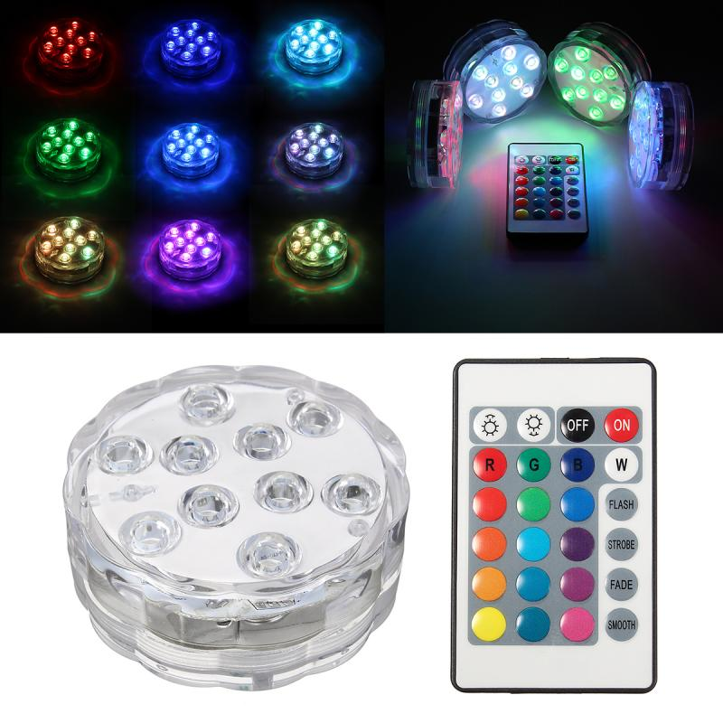 10 LED MultiColor RGB Submersible Waterproof Aquarium Colorful LED Lights Party Vase Base Light Remote Decors