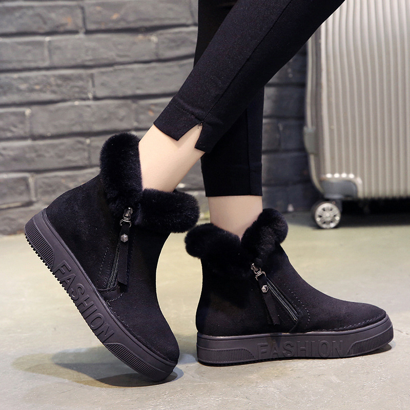 Image 2 - SWYIVY Flat Zipper Nubuck Woman Winter Boots 2019 Fashion Snow Ankle Boots For Women Shoes Short Plush Sewing Booties Solid ShoeAnkle Boots   -