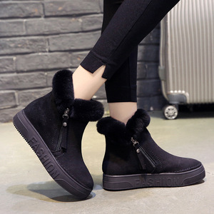 Image 2 - SWYIVY Flat Zipper Nubuck Woman Winter Boots 2019 Fashion Snow Ankle Boots For Women Shoes Short Plush Sewing Booties Solid Shoe